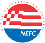 red, white and blue circular NEFC logo